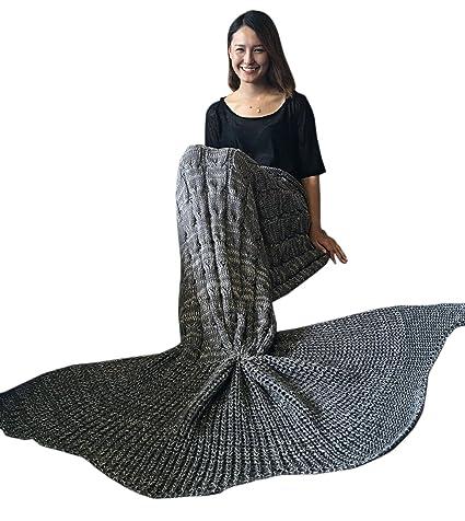 chictry Super grande hecha a mano Cola de sirena manta, todas las estaciones térmica de