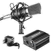 Neewer NW-700 Microphone Kit: (1) Microphone+(1) 48V Alimentation Fantôme+(1) Adaptateur Secteur+(1) XLR Câble Audio+(1) Anti-Choc+(1) Anti-Vent en Mousse+(1) Câble d'Alimentation
