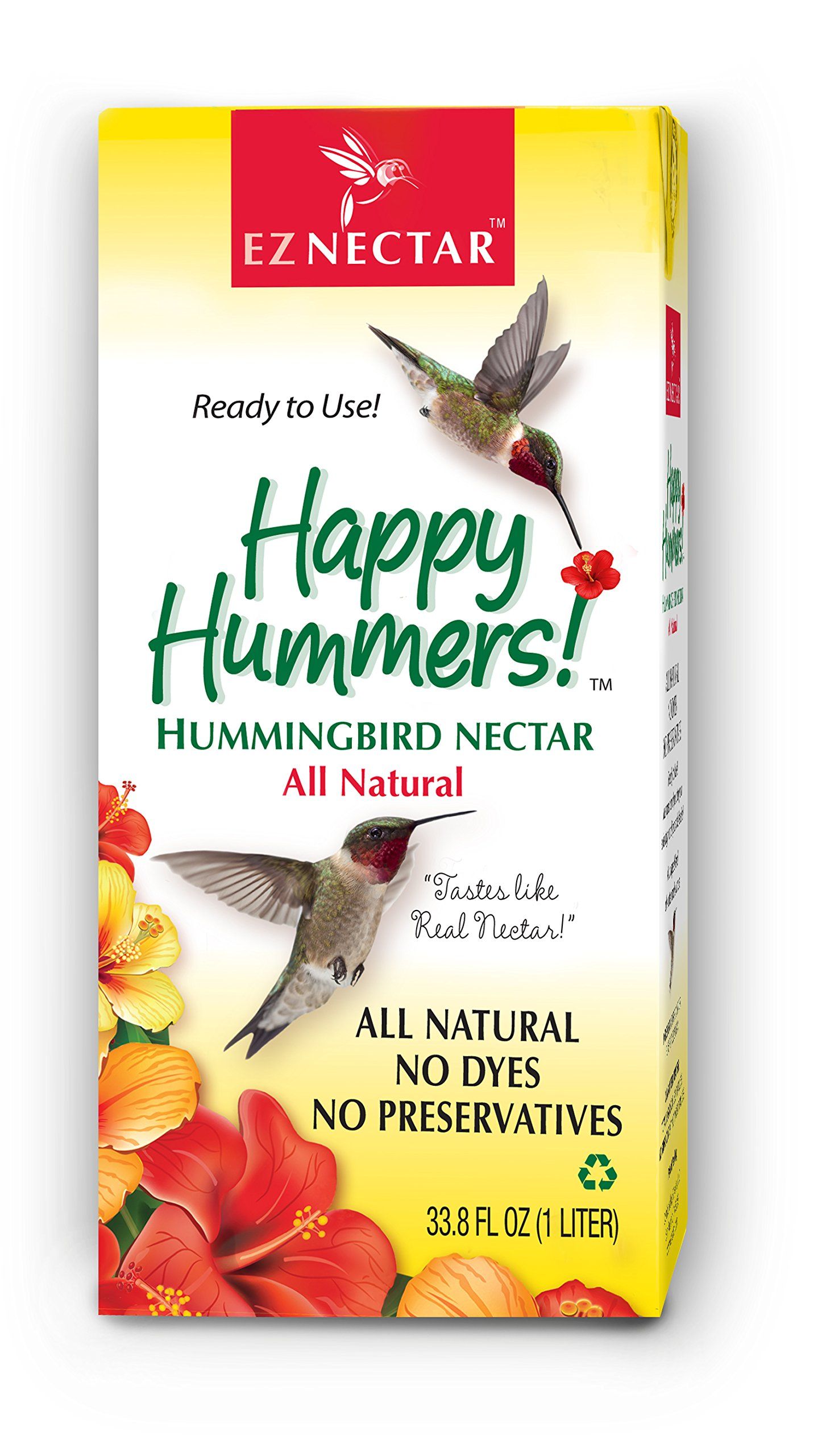 EZNectar - 33.8 oz The Only Ready-to-Use Hummingbird Nectar Exactly Like Flower Nectar. Patented, Preservative & Dye Free, Hummingbird Food - Nectar (1 Piece)