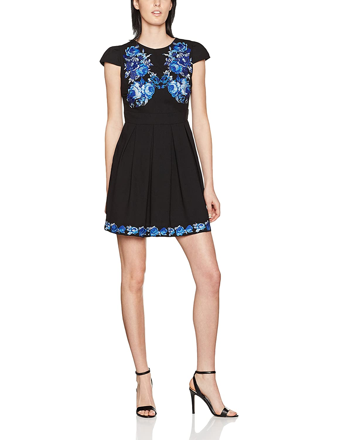 Wolf and Whistle Damen Kleid Black Blue Embroidered