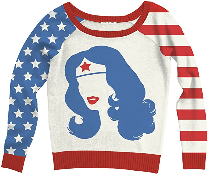 496f7414f DC Comics Wonder Woman Big Face Adult Off White Sweater at Amazon ...