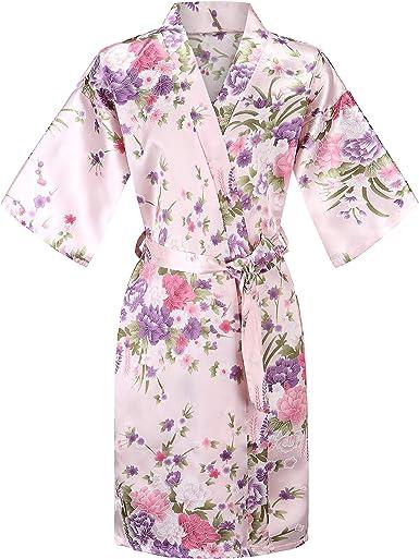 Girls Satin Kimono Flower Robe Bathrobe Nightwear for Spa Wedding Dressing Gown