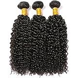 CLAROLAIR brasileño pelo rizado cabello virgen brasileño pelo rizado 3 paquetes de pelo humano brasileño extensión cabello rizado cabellos crespos mixto longitud 8-26 '' color natural (100 +/-5g)/