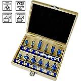 S&R Set frese da legno 12 Seghe a tazza per Legno gambo 8mm in metallo duro acciaio forgiato per utensili.
