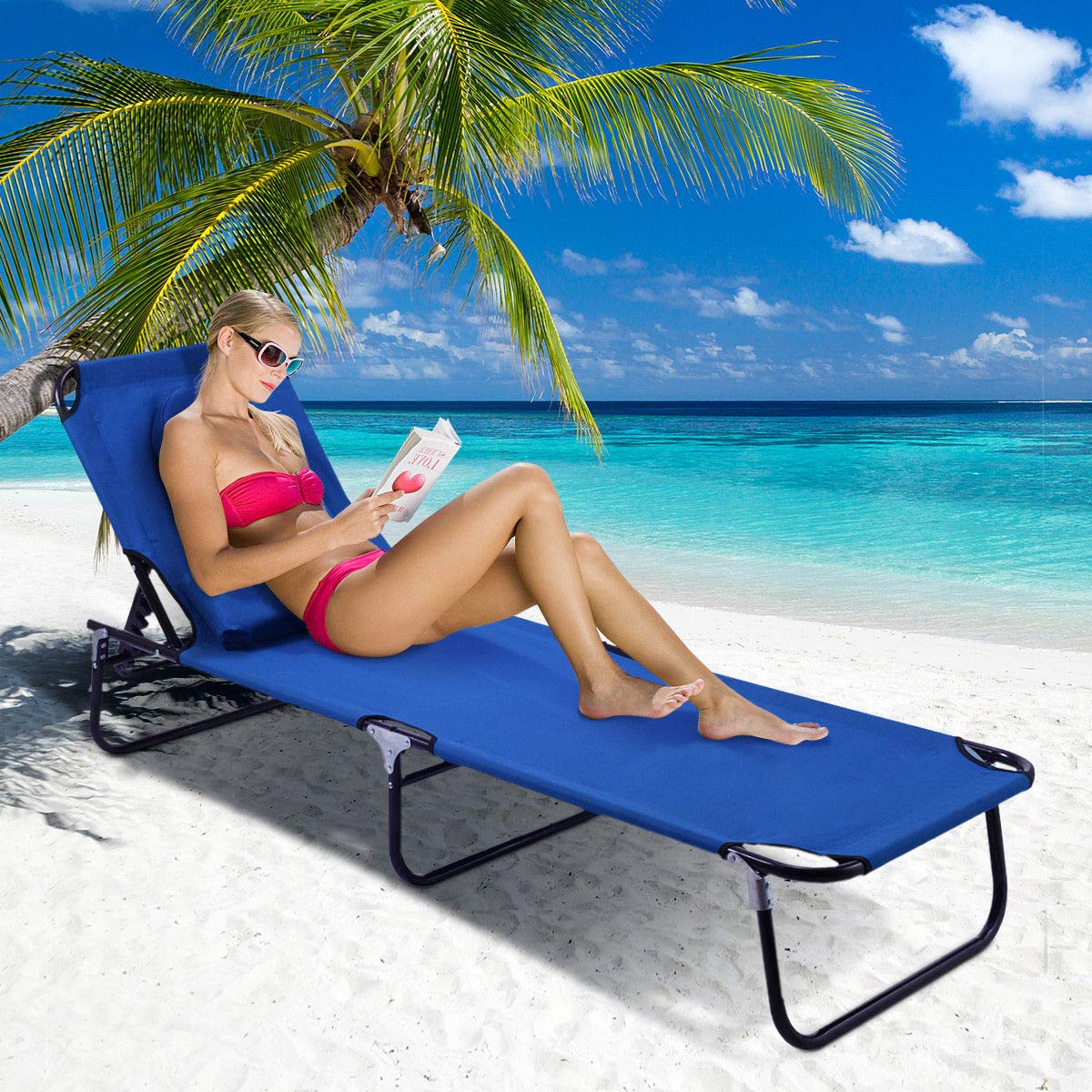 COSTWAY Blue Foldable Sun Lounger W/Headrest Reclining Bed Chair Recliner Camping Garden Patio Beach Indoor Outdoor