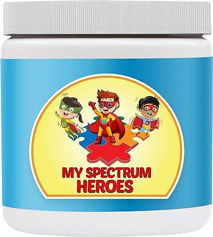 Suplemento De Multivitamina Para Niños De My Spectrum Heroes Calma Natural Concentración Memoria Concentración Atención Cerebro Y Apoyo Neural Para Niños Con Tdah Autismo Asd Vitamina Y Polvo Mineral Health