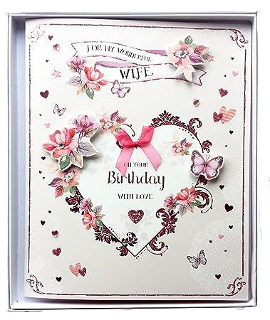 Wife Handmade Luxury Boxed Birthday Love Heart Large Greeting Card