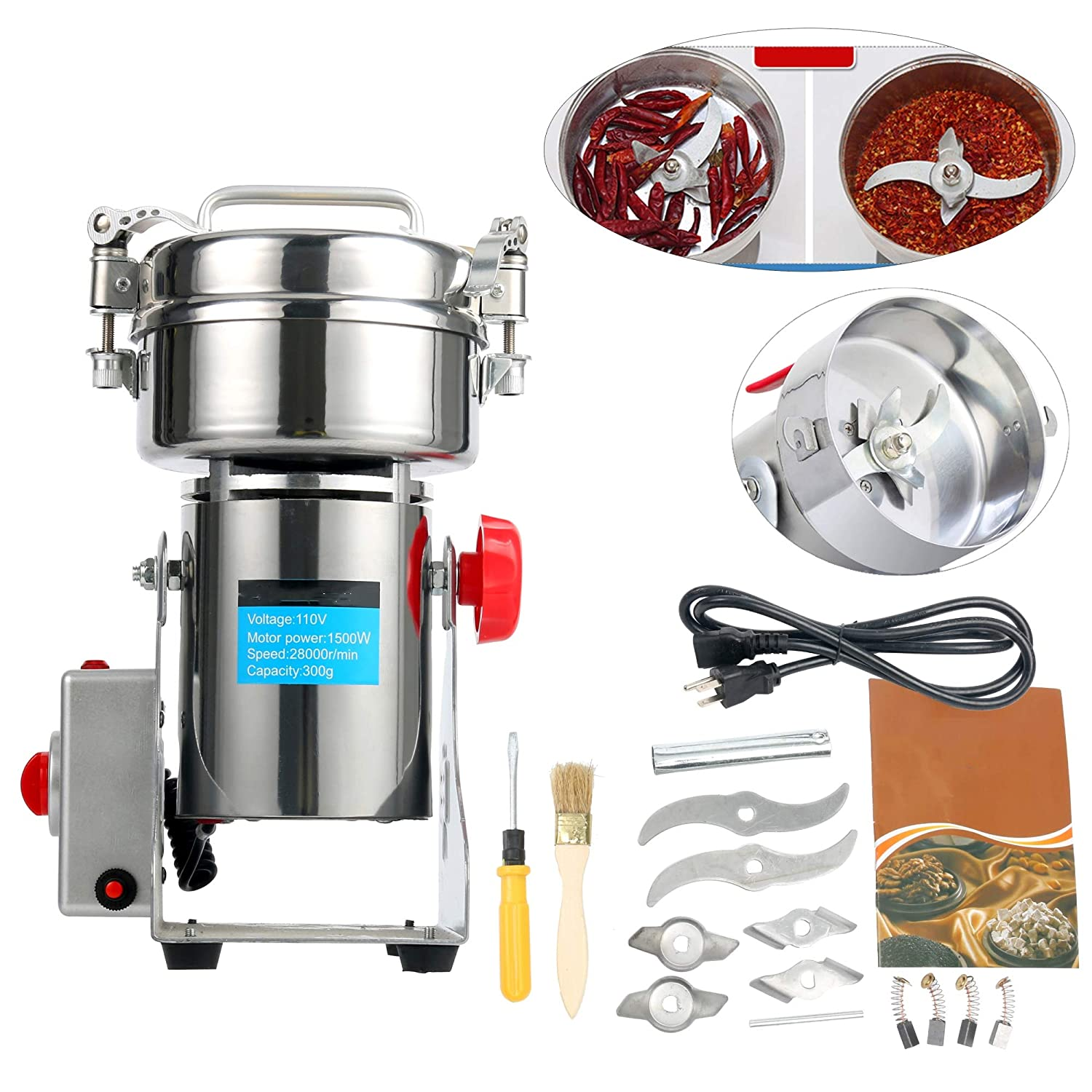 YaeTek 110V 300g Stainless Steel Electric High-Speed Grain Grinder Mill Family Medicial Powder Machine Commercial Cereals Grain Mill Herb Grinder,Pulverizer Gift for mom, Wife Shanghai Penghou Trading Ltd