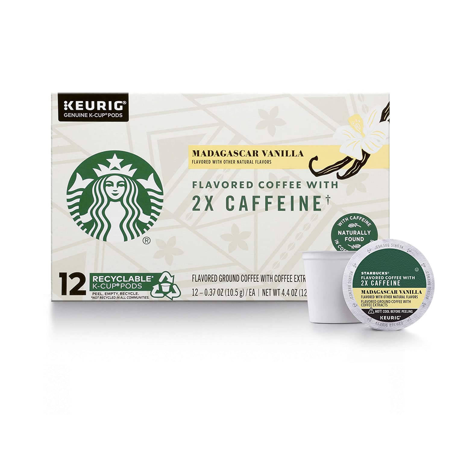 Starbucks Flavored K-Cup Coffee Pods with 2X Caffeine — Madagascar Vanilla for Keurig Brewers — 4 boxes (48 pods total)
