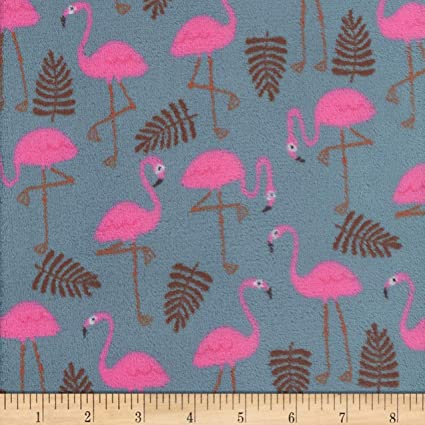 Material De Tela Polar Jersey algodón de lujo Flamingo-Azul