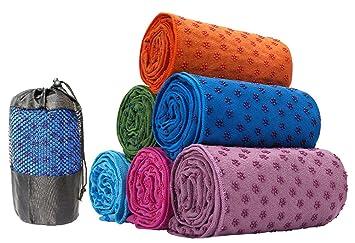 Toalla antideslizante para esterilla de yoga (63 x 180 cm) rosa: Amazon.es: Deportes y aire libre