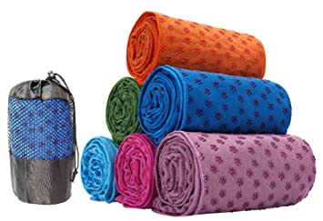 Toalla antideslizante para esterilla de yoga (63 x 180 cm) morado By Kamays