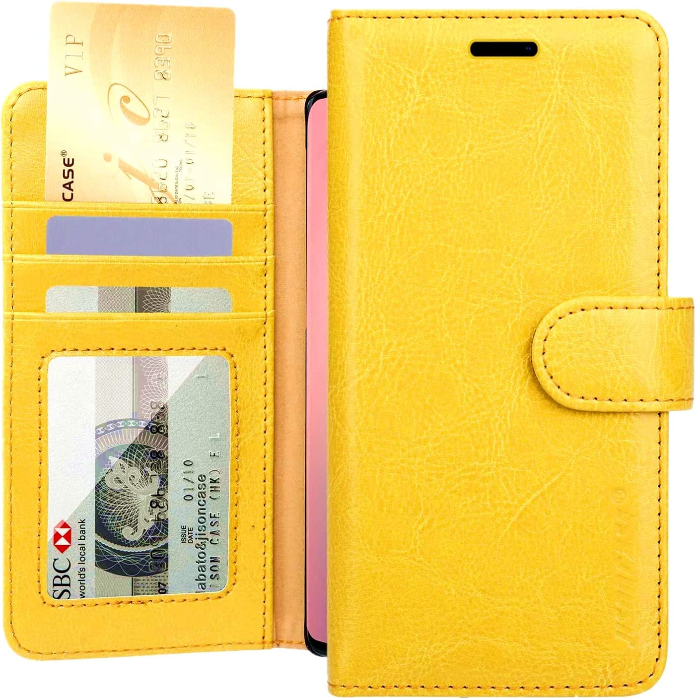 JISONCASE iPhone XR Wallet Case, Leather iPhone Xr Cases Women Girls with Credit Card Holder Slot Magnetic Closure Shockproof Protective Flip Case for Apple iPhone XR 6.1'', Yellow