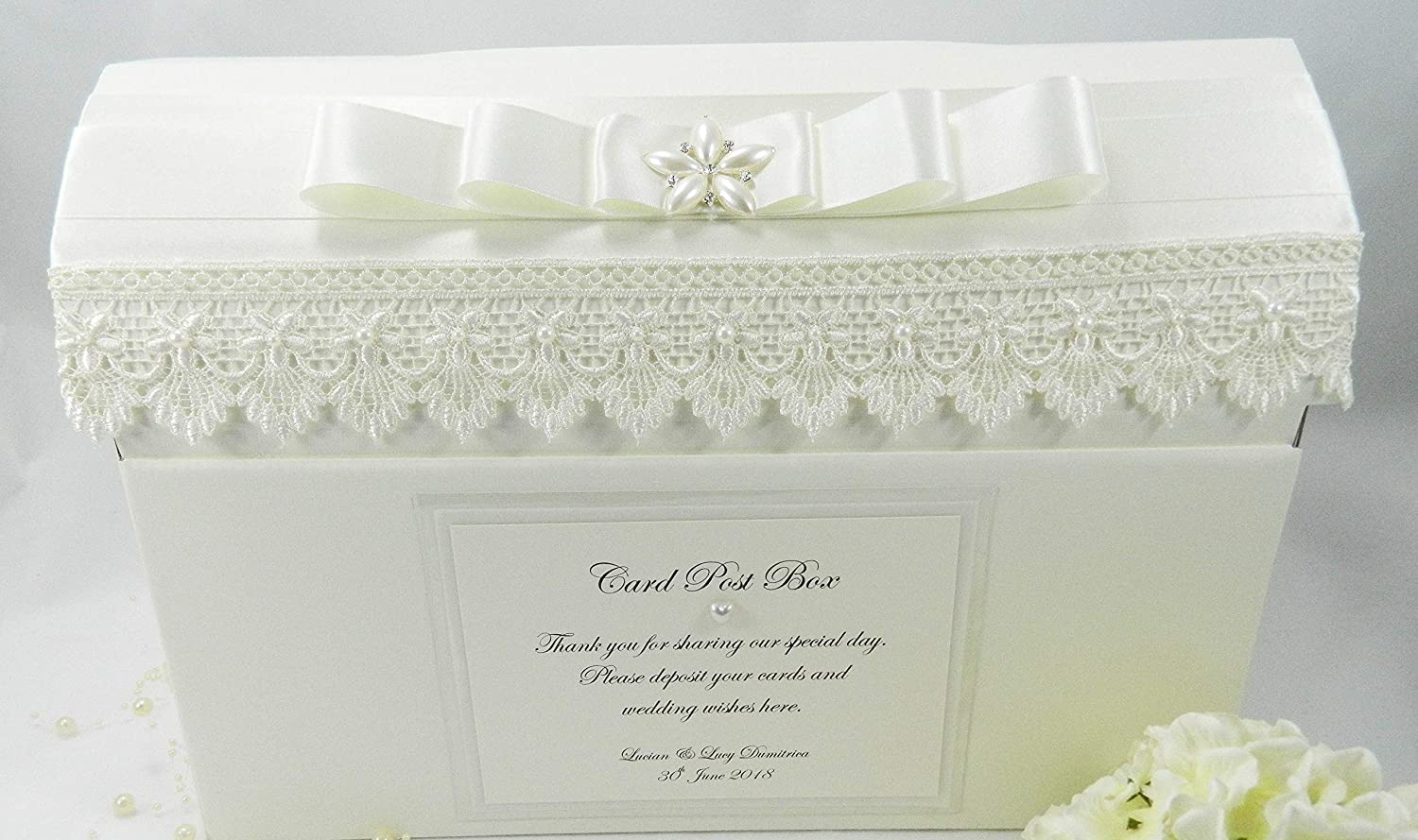 Paper Memories Personalised Vintage Guipure Lace Wedding Card Post Box (Ivory)