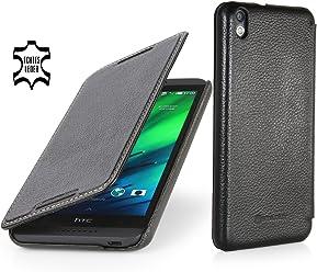 StilGut Housse UltraSlim, en style Book Type en cuir pour HTC Desire 816, en noir