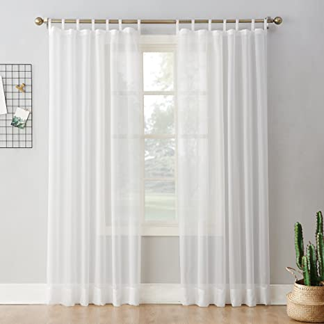 Amazon Com No 918 52454 Emily Sheer Voile Tab Top Curtain Panel 59 X 84 White Home Kitchen