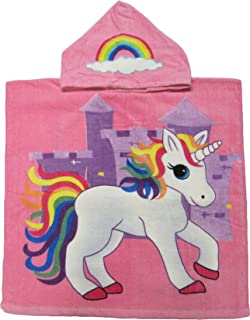 Kreative Kids Pink Unicorn 100% Cotton Poncho Style Hooded Bath & Beach Towel with Colorful