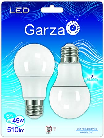 Garza Lighting - Pack ahorro de 2 bombillas LED estándar de 6 W de potencia, luz fría 5000 K: Amazon.es: Iluminación