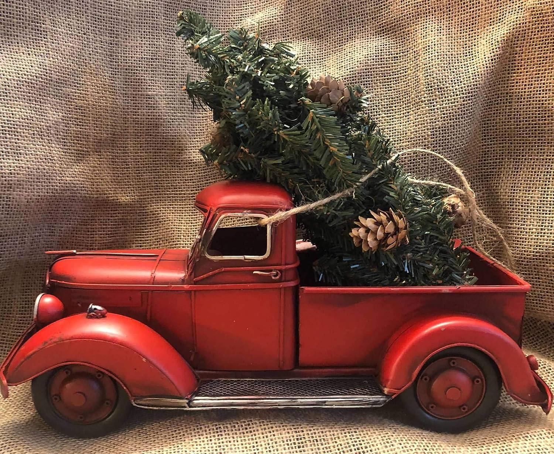 All Chic Handmade Christmas Tree Farm Red Metal Truck Festive Decoration