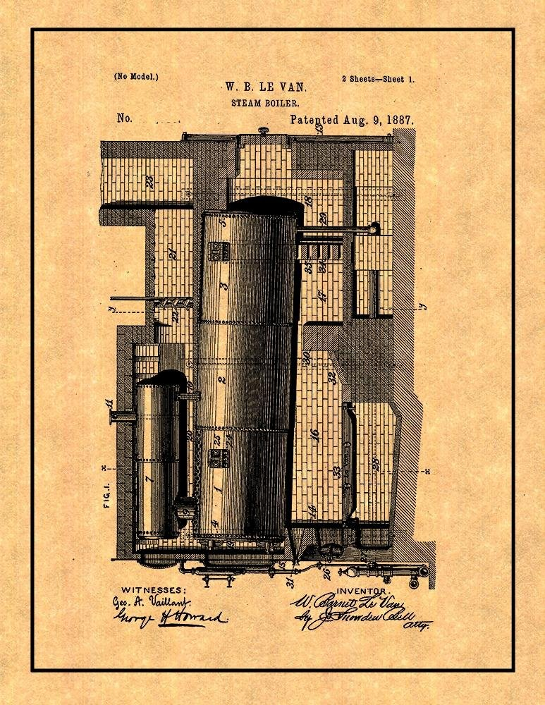 Amazon.com: Steam Boiler Patent Print Art Poster with Border (13\