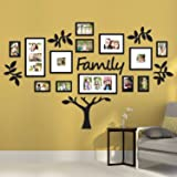 "Rabhya International Wood 19-Piece Eye-Catching Collage ""Family"" Tree Picture Frames, 72x45-inches(Black) - Set of 17"