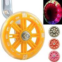 Leichte Sicherheitstraining Räder - LED Bike Stabilisatoren für Kids Cycles von Bikes&.co. Rote, grüne und blaue LEDs für Radsport und Sicherheit