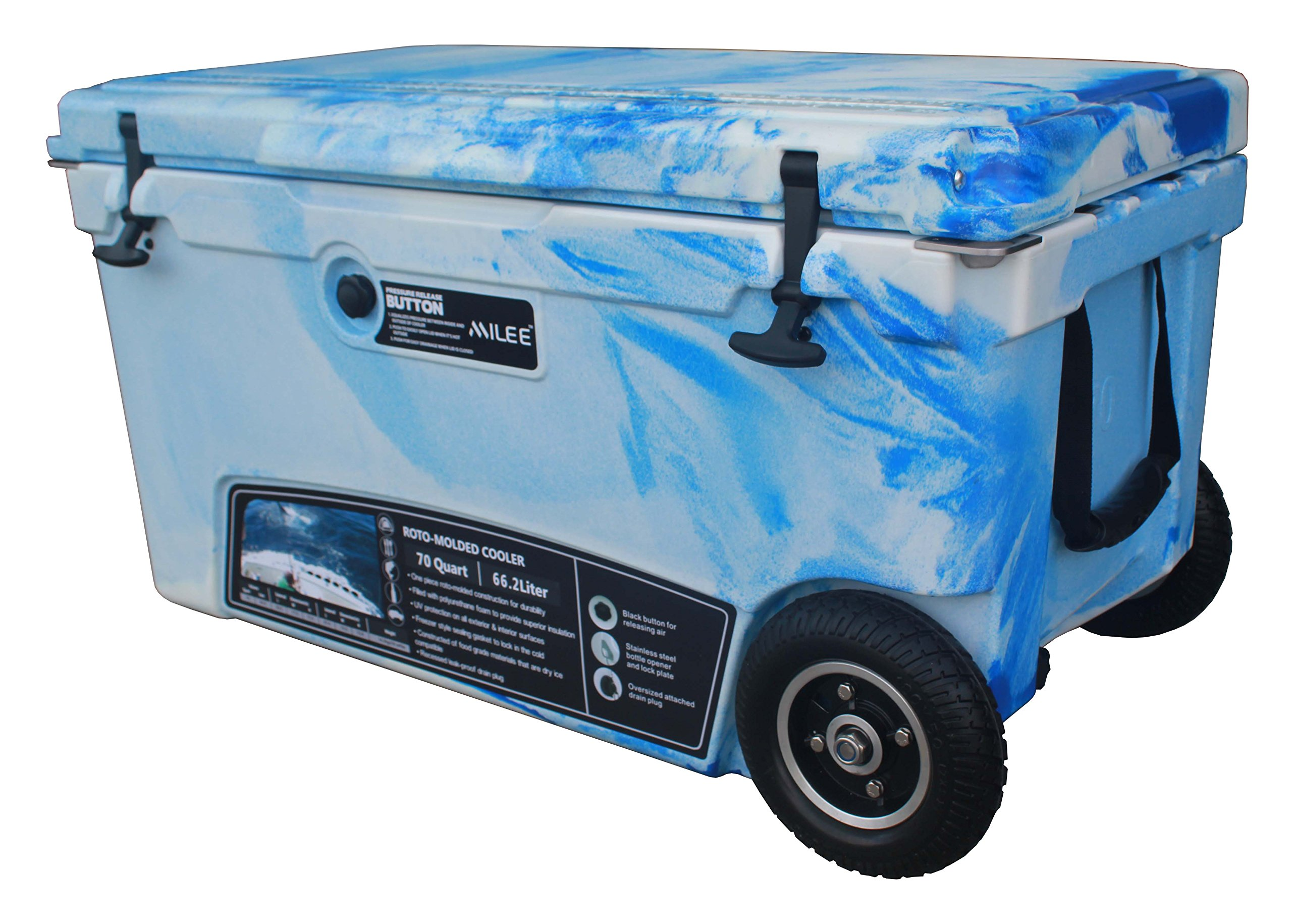 MILEE--Wheeled Cooler 70QT (Marine CAMO) Included Divider, Basket and Cup holder free. by MILEE