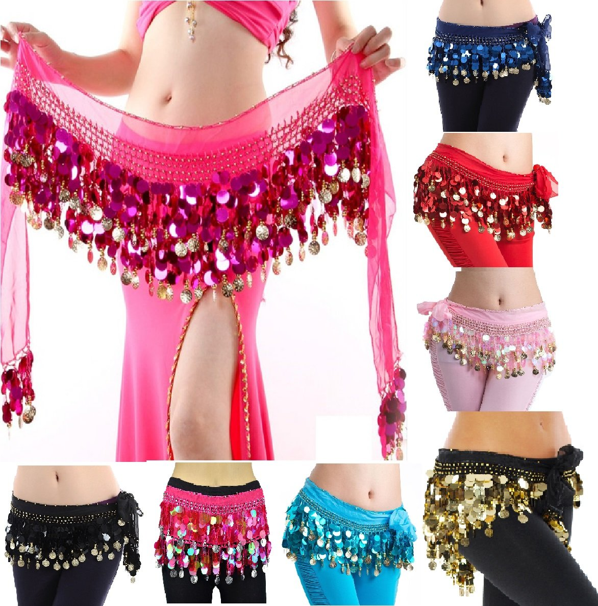 Buy Vritraz Women S Chiffon Belly Dance Hip Scarf Waistband Belt Skirt With128 Ringy Golden Coins 128 Rose Online At Low Prices In India Amazon In