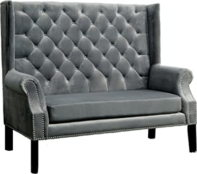 HOMES: Inside + Out IDF-BN6171GY Rayne Loveseat Bench, Gray