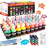 Fabric Paint Set, Shuttle Art 45 Colors 3D Permanent Paint with Brushes Palette Fabric Pen Fabric Sheet Stencils, Glow in The