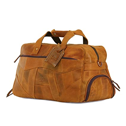 2a1193ae2f41 Leather Gym Bag for Men - Weekend Travel Bags for Women - Carry On Overnight  Luggage  Amazon.co.uk  Luggage