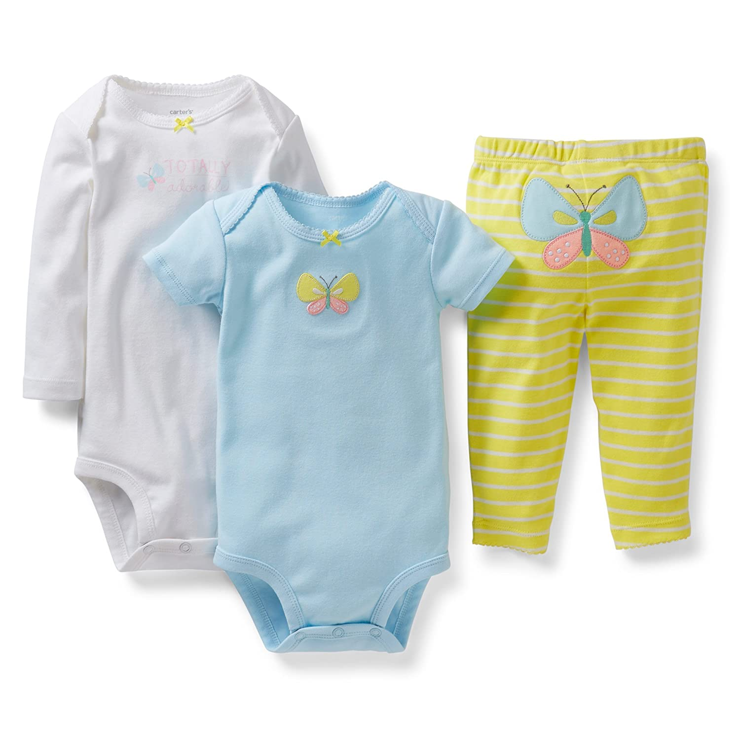 24 months, Butterfly Carters Girls 3 Piece Bodysuit and Pant Set