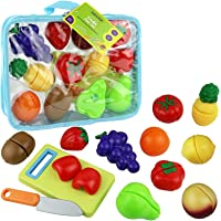Click N' Play Kids Pretend Play Cutting Fruit Toy Set, Food Playset with Cutting Board and Knife with Carrying Case for Safe Storage, 12 Piece