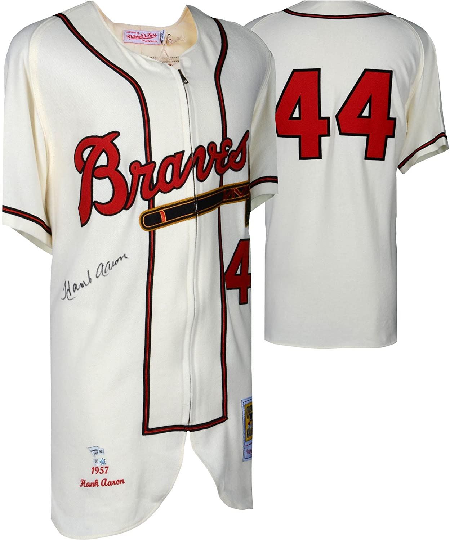 big sale e2809 8f682 Hank Aaron Milwaukee Braves Autographed Mitchell and Ness ...