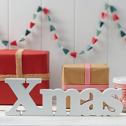 ginger ray Navidad Blanco Xmas Cartel de Madera Decoración ...