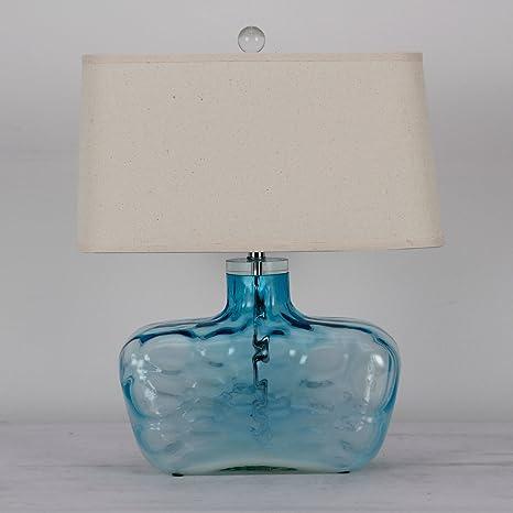 BBSLT lámpara de mesaLámpara de mesa cristal azul salón dormitorio ...