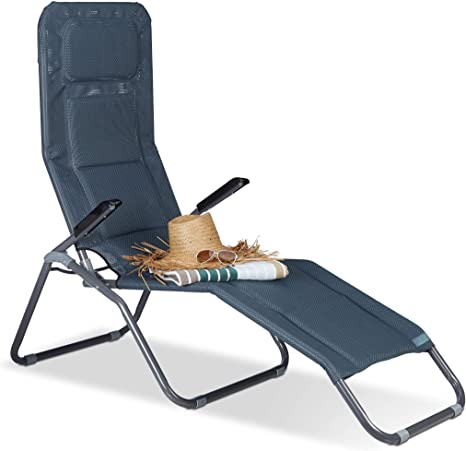 Relaxdays Chaise longue Transat pliable plage jardin relaxation dossier inclinable jusqu'à 150 kg, anthracite