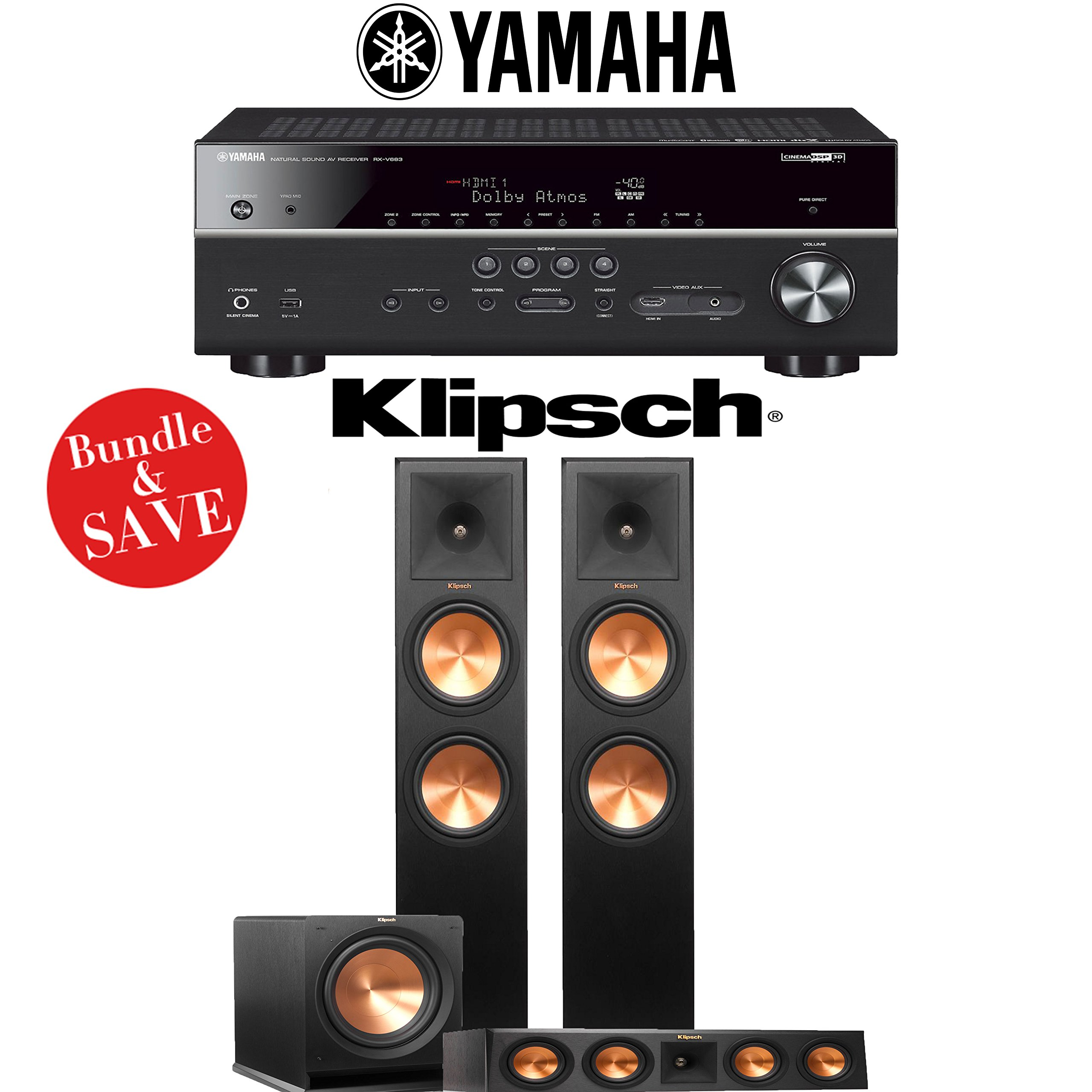 Klipsch Reference Premiere RP-280F 3.1-Ch Home Theater System with Yamaha RX-V683BL 7.2-Ch 4K Network AV Receiver by Klipsch