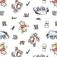 """Winnie The Pooh Disney Licensed Pooh and Friends Toss on White Design by Springs Creative 43"""" Wide 100% Cotton Fabric SC…"""
