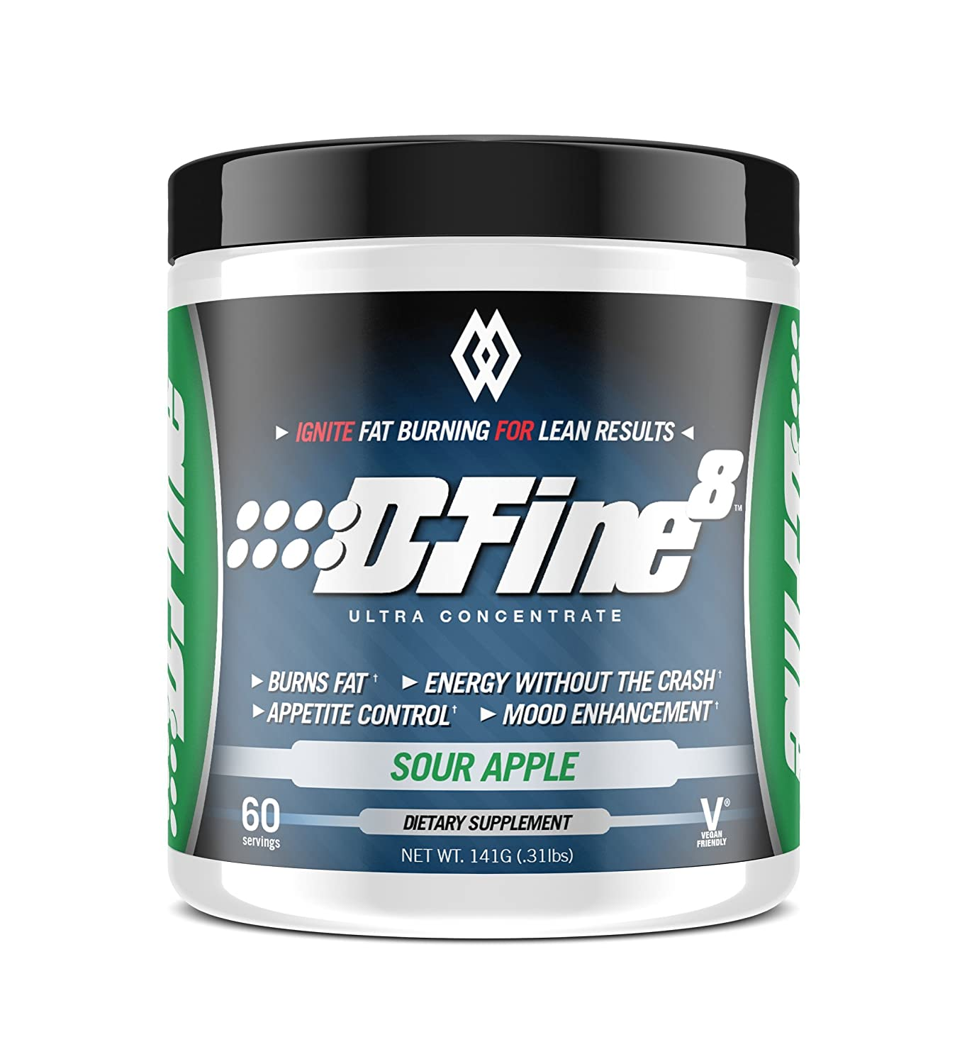 Musclewerks D-Fine8 – Fat Burner Thermogenic, Pre Workout Powder, Appetite Suppressant, Energy Weight Loss Supplement for Men Women – 60 Servings Vegan Friendly Sour Apple