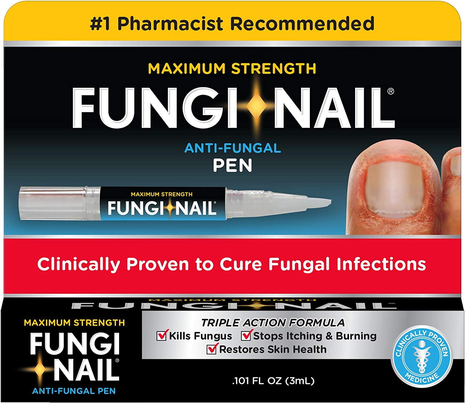 Fungi-Nail Pen Applicator Anti-Fungal Solution, 0.10 Ounce - Kills Fungus That Can Lead To Nail Fungus & Athlete's Foot Undecylenic Acid & Clinically Proven to Cure Fungal Infections: Health & Personal Care