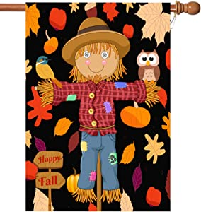 Fall House Flags Double Sided Autumn Flag Scarecrow Harvest Pumpkin Yard Decorations Happy Fall Garden Flags 28 x 40 Inch Large Fall Yard Flags with 2 Grommets