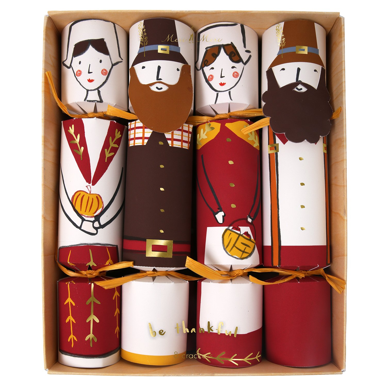 Meri Meri Thanksgiving Party Crackers, Set of 8 Medium Crackers