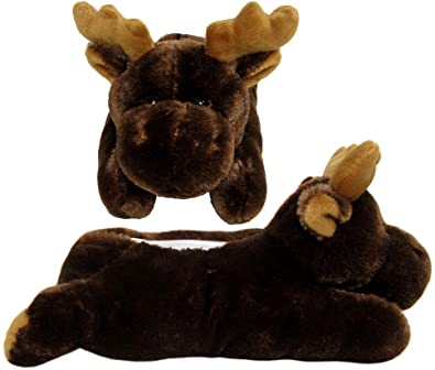 def80ccf15c6 Wishpets Adult M Brown Moose Slippers