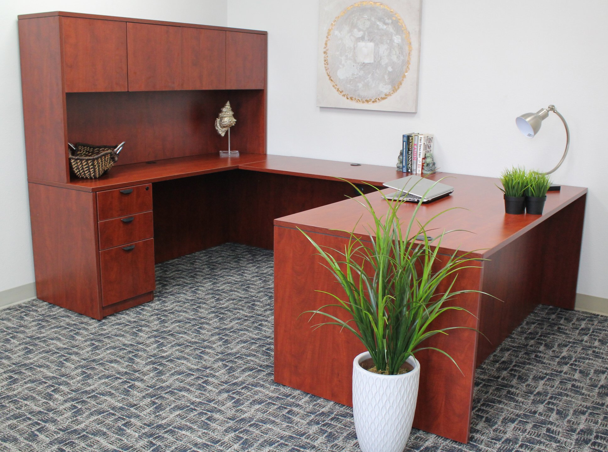 Boss Office Products Holland 66'' Executive U-Shape Desk with File Storage Pedestal and Hutch, Cherry