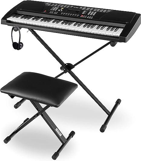 Funkey Super Kit 61 Teclado negro, soporte, banco, auriculares, partituras