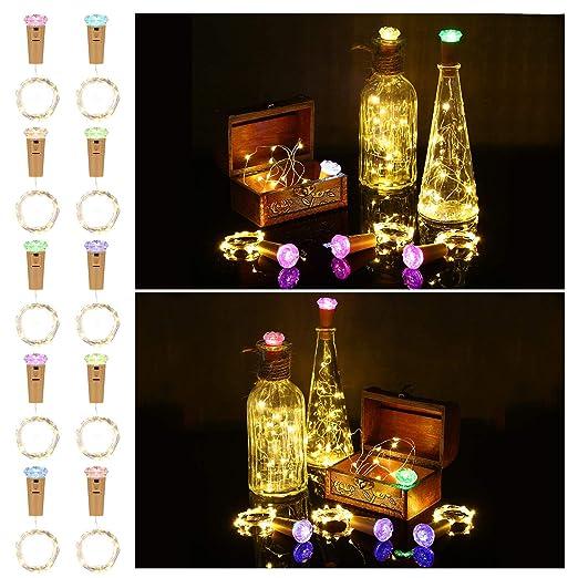 Botella de luz LED 10 Piezas con Cubierta de La Lámpara de Color, ACCEWIT 1,5 metros 16 LEDs Cadena de Luces Decoración de Botella Decoración de Luces ...