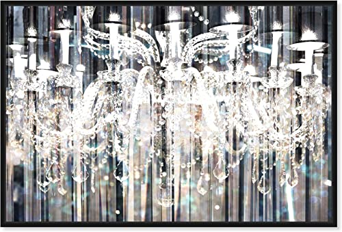 The Oliver Gal Artist Co. Fashion and Glam Framed Wall Art Canvas Prints 'Diamond Shower' Chandeliers Home D cor