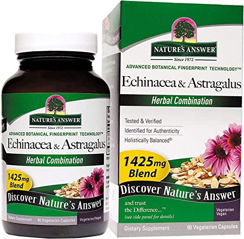 Nature s Answer Echinacea with Astragalus, Vegetarian Capsules, 90-Count