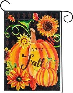 "Roberly Thankful Fall Garden Flag, Buffalo Check Pumpkin Fall Thanksgiving Garden Flag, Double Sized Vertical Burlap for Harvest Rustic Yard Outdoor Thanksgiving Decoration (12.5"" x 18"")"